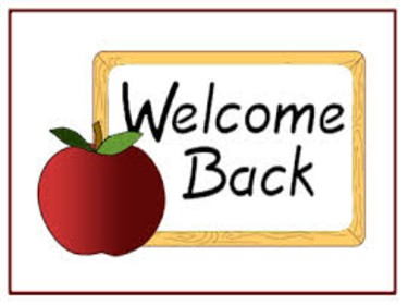illustration of an apple in front of a sign that says 'welcome back'