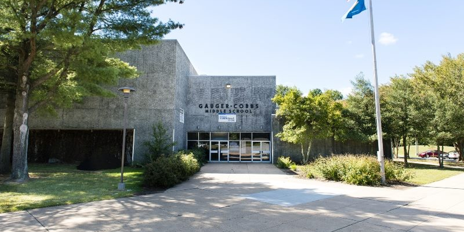 Front of the Gauger-Cobbs Middle School building