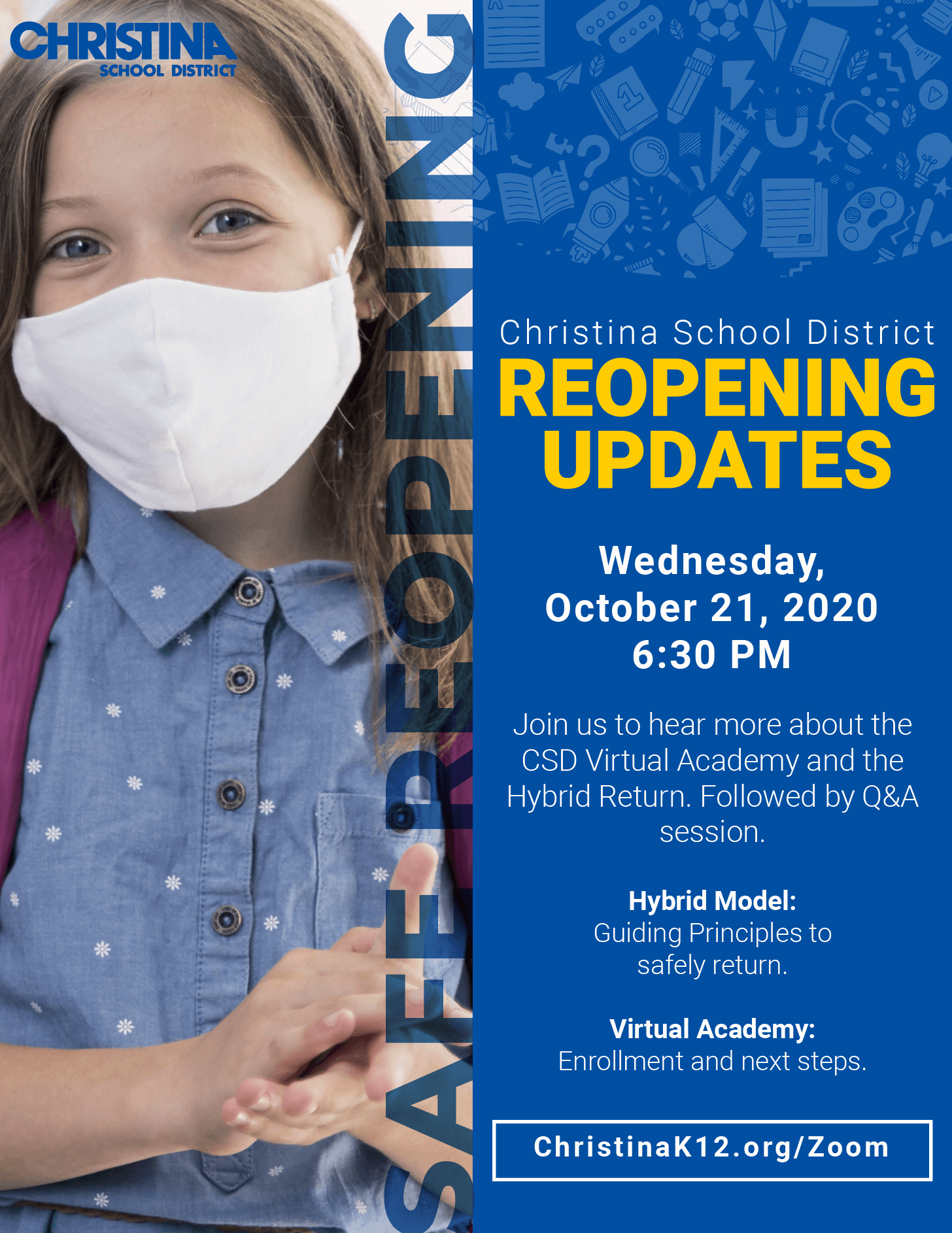 Flyer - Christina School District Reopening Updates - English