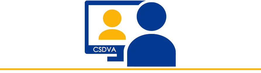 icon set of a person looking at a computer displaying a person with the letters CSDVA
