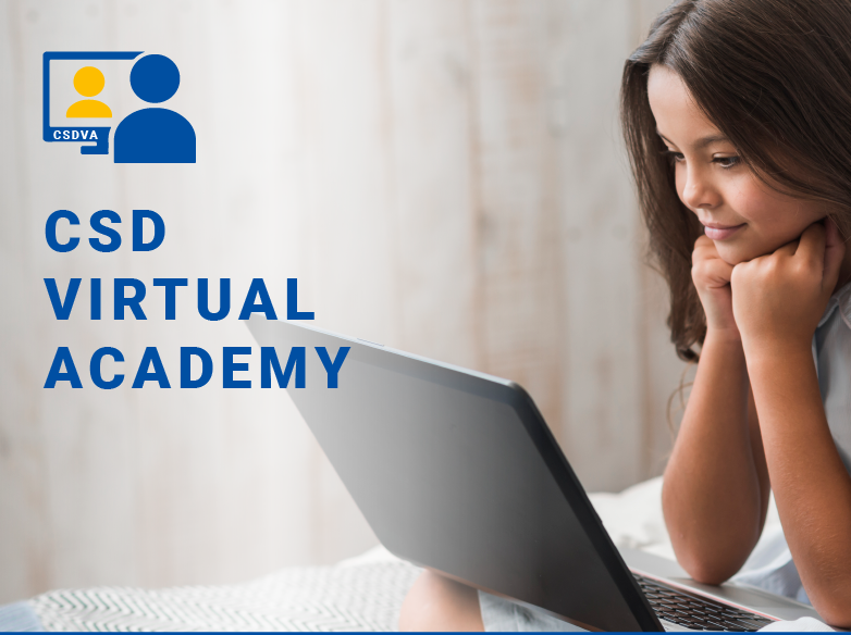 Image of a young girl sitting with her hands on her chin looking at a laptop - CSD Virtual Academ