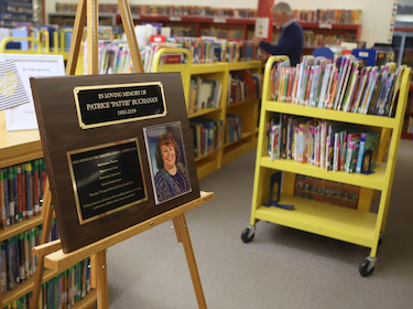 Plaque honoring beloved principal Pattie Buchanan