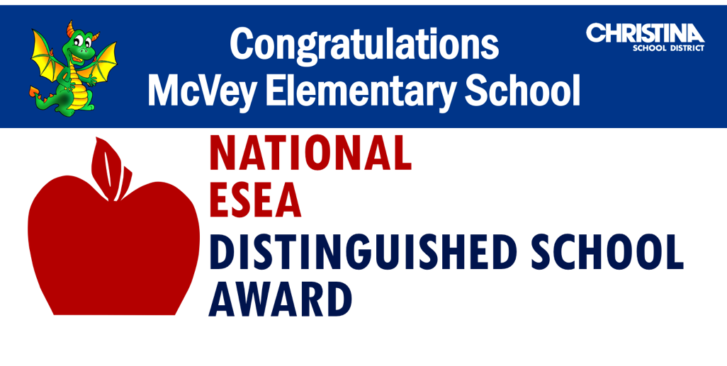 Congratulations McVey Elementary School. 2020 National ESEA Distinguished School