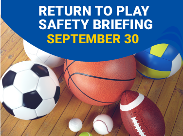 Return to Play Safety Briefing with a collage of sport balls