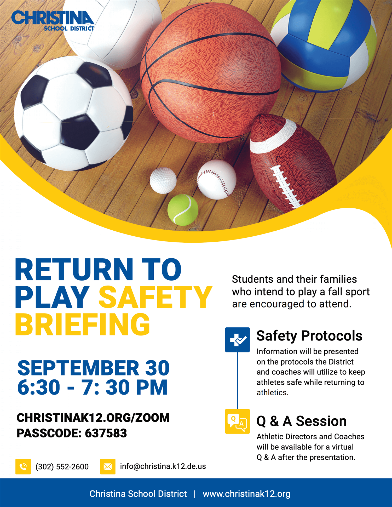 Return to play safety briefing september 30 7:30 safety protocols and q&a session