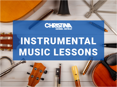 Collage of musical instruments with a text overlay 'instrumental music lessons'