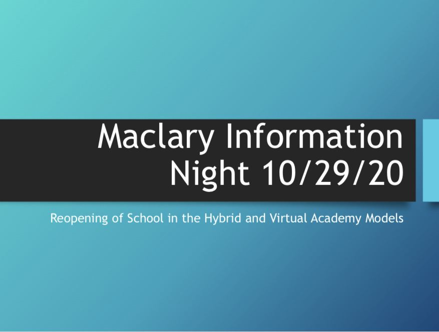 Maclary Information Night PowerPoint Title Slide
