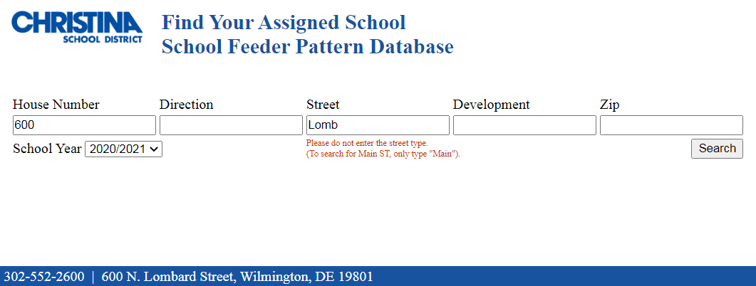 Screenshot of the Christina School District 'Find Your Assigned School Feeder Pattern Database