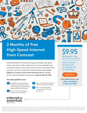 2 Months of Free High Speed Internet from Comcast