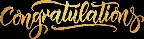 Congratulations written in a blue script font