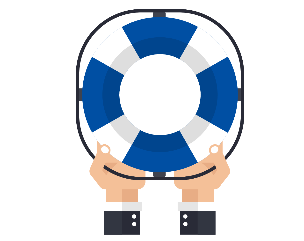 icon - hands hold a blue and white life preserver