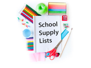 photo collage of school supplies with an open notebook with the phrase ' school supply lists'